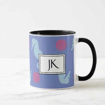 Coffee Themed Seahorse Oceanic Textile Coffee Mug