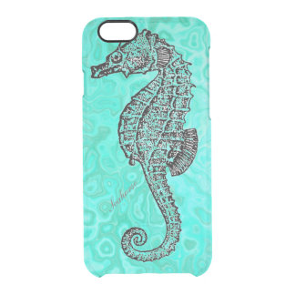 Seahorse on Aqua Splash Turquoise Marble Pattern Clear iPhone 6/6S Case