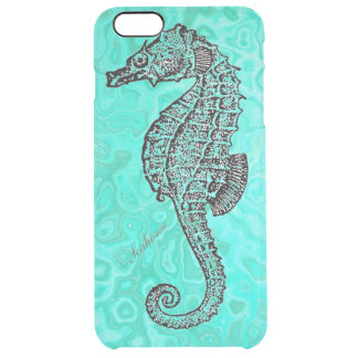Seahorse on Aqua Splash Turquoise Marble Pattern Clear iPhone 6 Plus Case