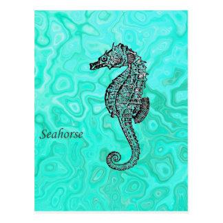 Seahorse on Aqua Splash Turquoise Marble Pattern Postcard