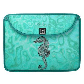 Seahorse on Aqua Splash Turquoise Marble Pattern Sleeve For MacBook Pro