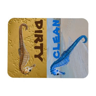 Beach Themed Seahorse on Beach Dirty Clean Dishes Magnet