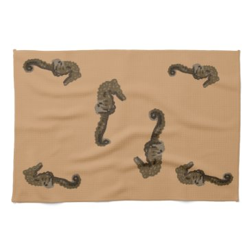 Beach Themed Seahorse on Beige Towels