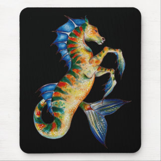 seahorse on black mouse pad