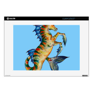 """Seahorse On Blue Decal For 15"""" Laptop"""