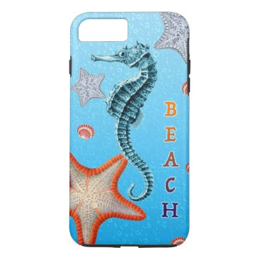 Beach Themed Seahorse on Blue iPhone 7 Plus Case