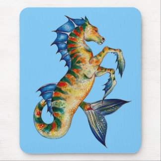 Seahorse On Blue Mouse Pad