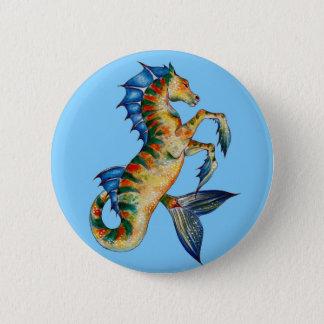 Seahorse On Blue Pinback Button