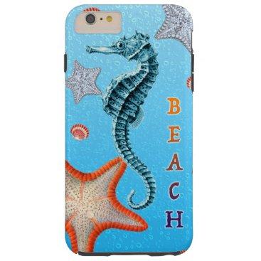 Beach Themed Seahorse on Blue Tough iPhone 6 Plus Case