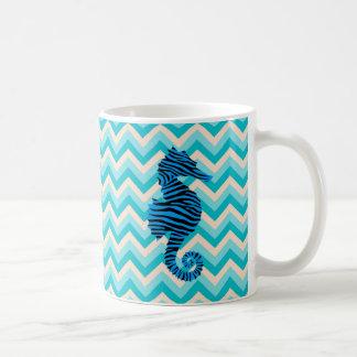 Seahorse on Chevron Pattern Coffee Mug