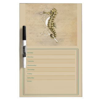 Seahorse on Vintage Paper Weekly Calendar Dry-Erase Whiteboards