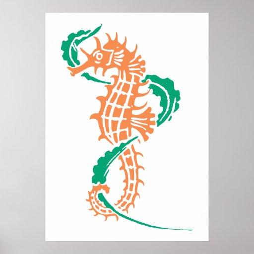 Seahorse orange emerald green and seaweed poster
