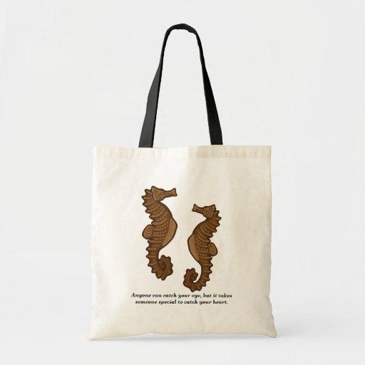 Seahorse Pair Canvas Bags
