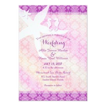 Beach Themed Seahorse Pair Purple Tropical Beach Wedding Card