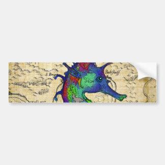 seahorse papyrus map bumper sticker