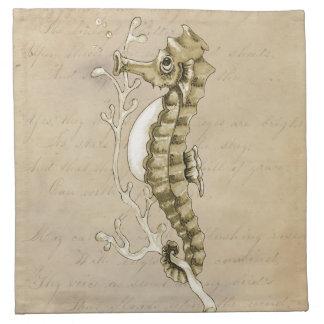 Seahorse pasado de moda en fondo del papel del vin servilletas de papel