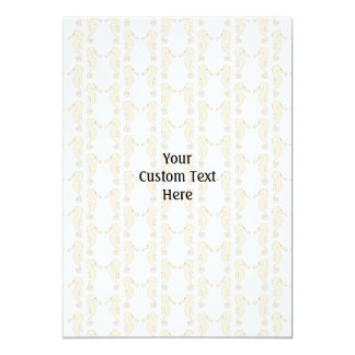 Seahorse pattern in cream color. 5x7 paper invitation card