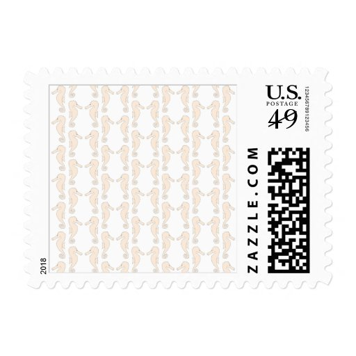 Seahorse pattern in cream color. postage stamps