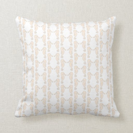 Seahorse pattern in cream color. throw pillows