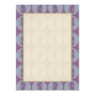 Seahorse Pattern in Gray and Purple Card