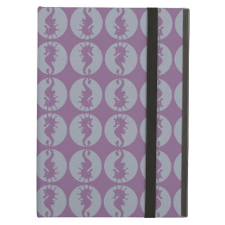 Seahorse Pattern in Gray and Purple iPad Air Cases