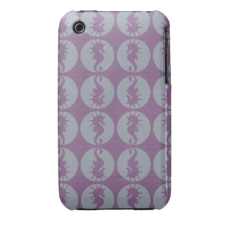 Seahorse Pattern in Gray and Purple iPhone 3 Case