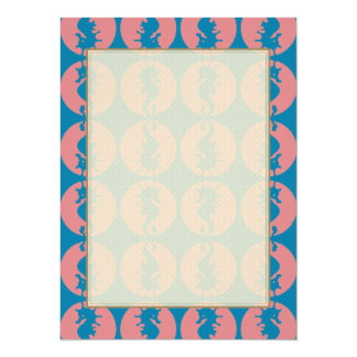 Seahorse Pattern in Melon and Dark Teal Card