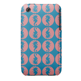 Seahorse Pattern in Melon and Dark Teal Case-Mate iPhone 3 Case