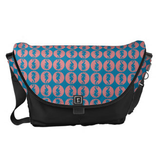 Seahorse Pattern in Melon and Dark Teal Courier Bag