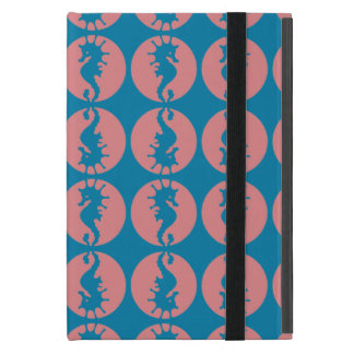 Seahorse Pattern in Melon and Dark Teal Cover For iPad Mini