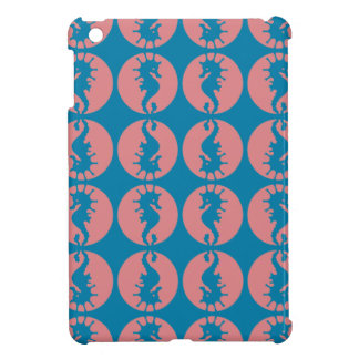 Seahorse Pattern in Melon and Dark Teal Cover For The iPad Mini