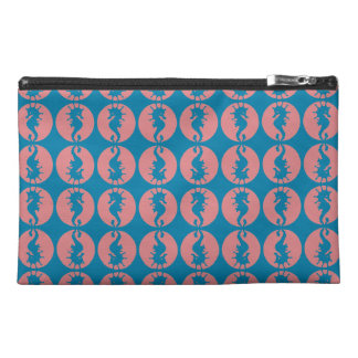 Seahorse Pattern in Melon and Dark Teal Travel Accessory Bag