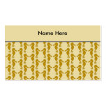 Seahorse Pattern in Tan and Brown. Business Card