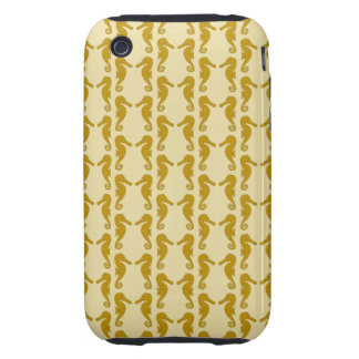 Seahorse Pattern in Tan and Brown. iPhone 3 Tough Cover