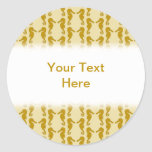 Seahorse Pattern in Tan and Brown. Round Sticker