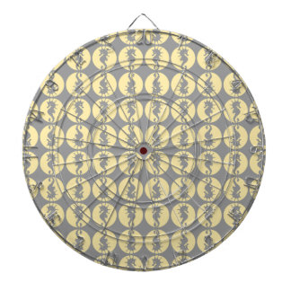 Seahorse Pattern in Yellow and Gray Dart Board