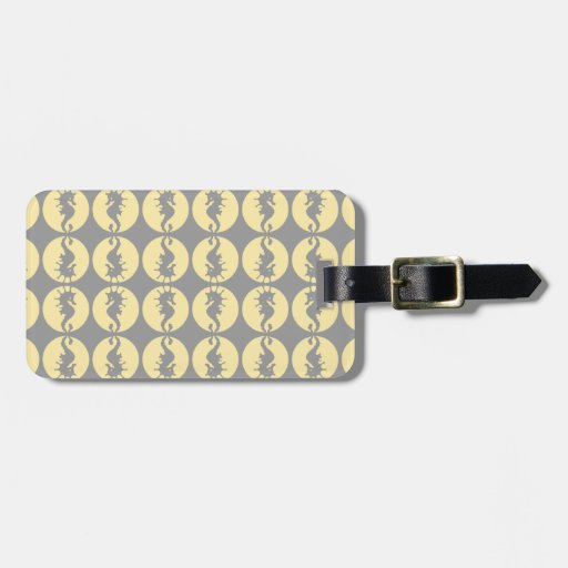 Seahorse Pattern in Yellow and Gray Tags For Luggage
