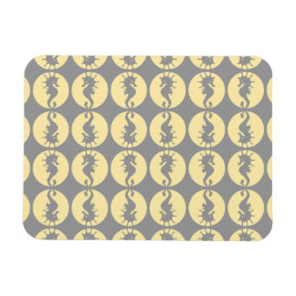 Seahorse Pattern in Yellow and Gray Magnet