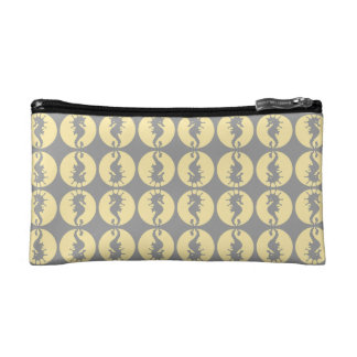 Seahorse Pattern in Yellow and Gray Makeup Bag