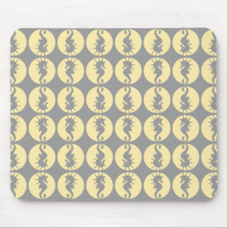 Seahorse Pattern in Yellow and Gray Mousepads