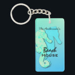 """Seahorse Personalized Family Beach House Key Ring<br><div class=""""desc"""">A pair of seahorses in tropical colors of blue and green decorate this rectangular,  acrylic keychain.  Personalize with family name and two more lines of text for &quot;beach house&quot; &quot;beach condo&quot; &quot;tropical retreat&quot; or any text.</div>"""