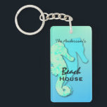 "Seahorse Personalized Family Beach House Key Ring<br><div class=""desc"">A pair of seahorses in tropical colors of blue and green decorate this rectangular,  acrylic keychain.  Personalize with family name and two more lines of text for &quot;beach house&quot; &quot;beach condo&quot; &quot;tropical retreat&quot; or any text.</div>"