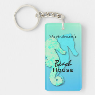 Seahorse Personalized Family Beach House Key Ring Keychain