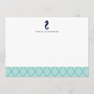 Seahorse Personalized Stationery Flat Cards