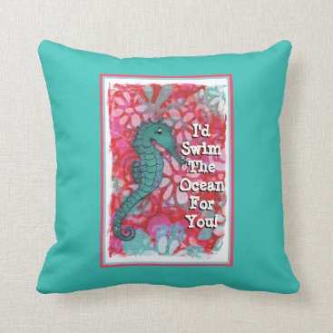 Beach Themed Seahorse Pillow, Ocean Themed Pillow, Teal and Red Throw Pillow