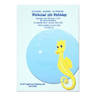 Seahorse Pool Birthday Party Invitation
