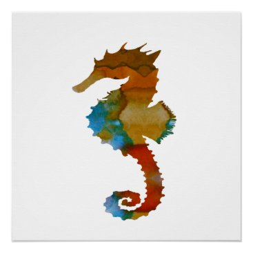 Beach Themed Seahorse Poster