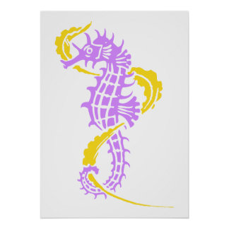 Seahorse purple, yellow and seaweed poster
