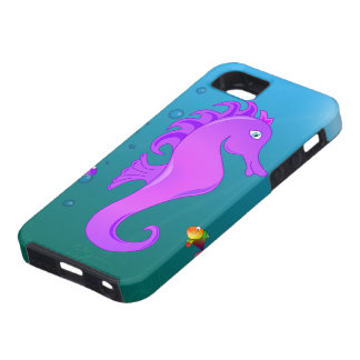 Seahorse púrpura lindo del dibujo animado en funda para iPhone 5 tough