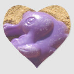 Seahorse púrpura colcomanias corazon personalizadas